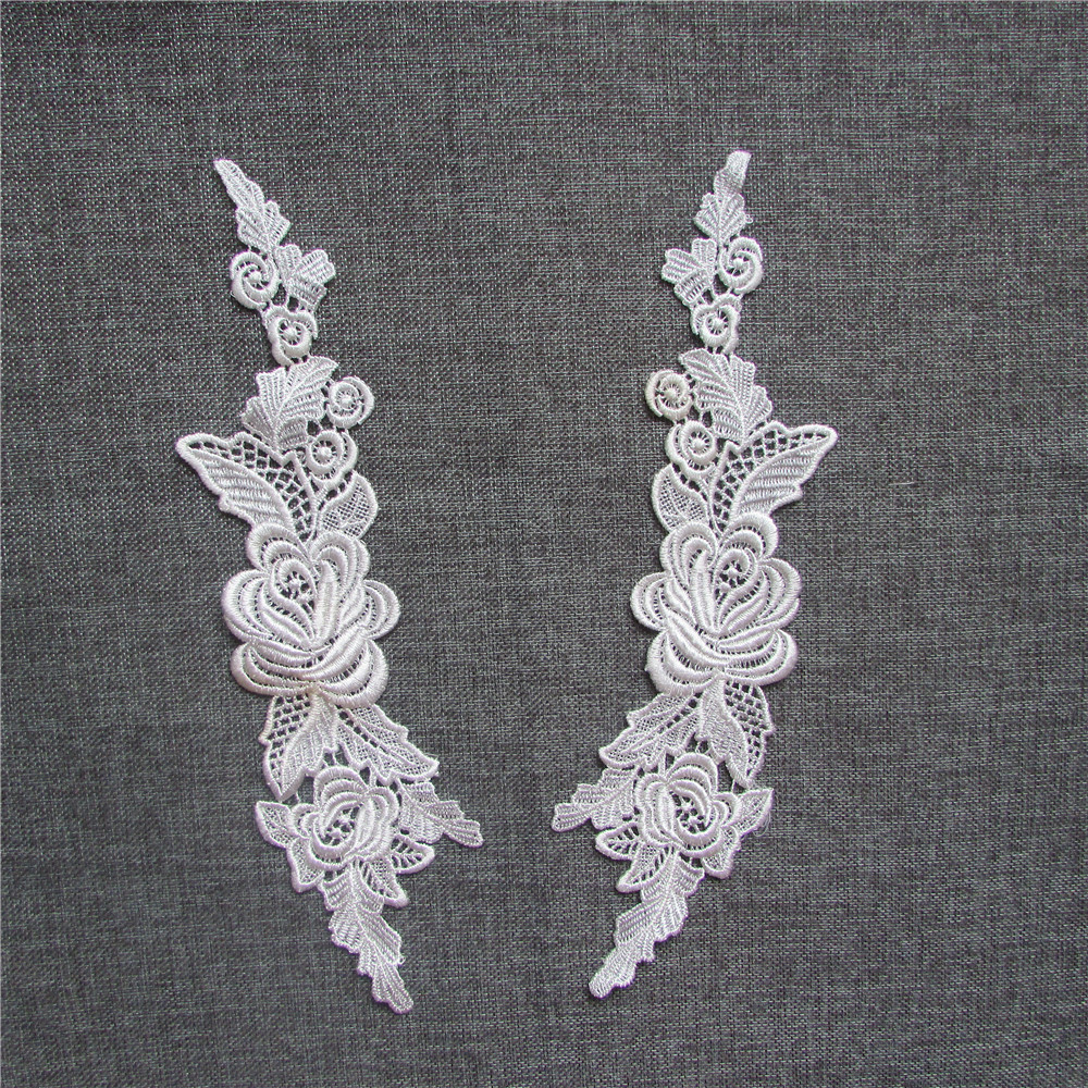 YL247 high quality fashio black Embroidered Lace Applique Embroidery Sewing on Patches Sewing Fabric Accessories a pair for sale