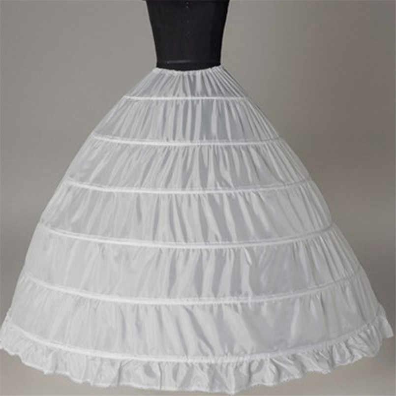 2019 элегантное Пышное Бальное платье свадебная юбка 6 обруч белая кринолин плюс