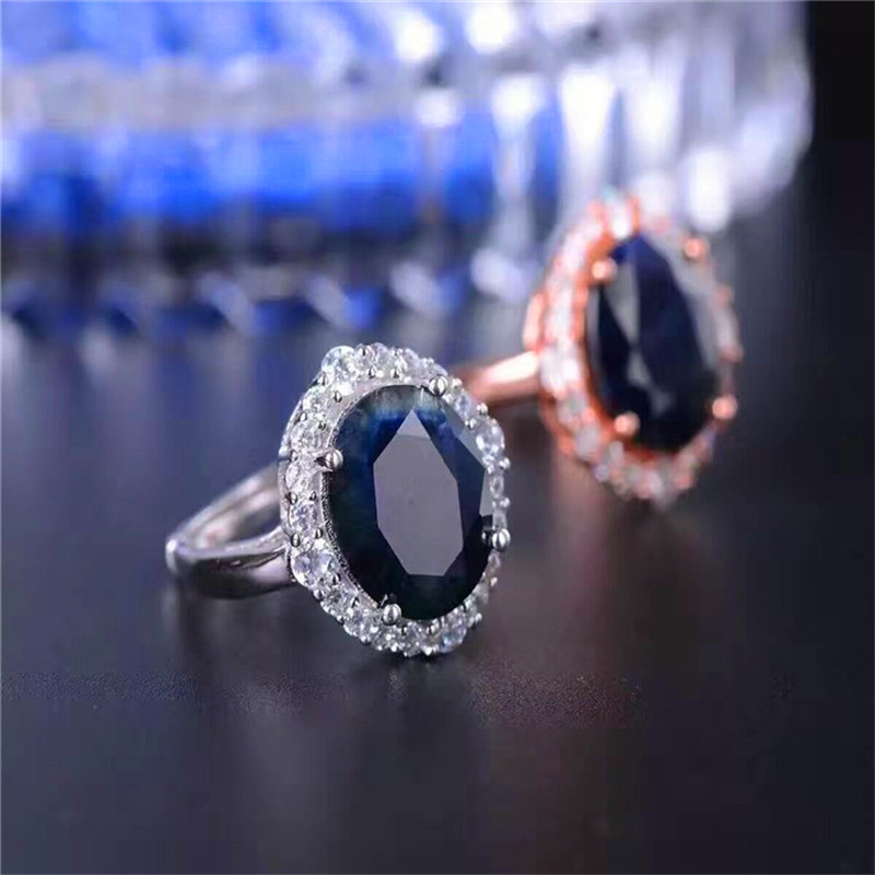Luxury Ring Fine Jewelry Dark Blue Sapphire Rings 10*12mm For Women 925 Sterling Silver Anniversary Gift Wedding