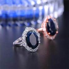 цена  Luxury Ring Fine Jewelry dark Blue Sapphire Rings 10*12mm For Women 925 Sterling Silver Anniversary Gift Wedding онлайн в 2017 году
