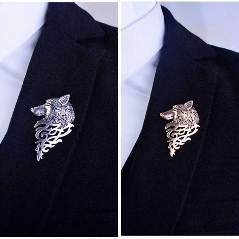 2019 Retro Lupo Spilla Vintage Punk Del Collare Spilli Spille Distintivo Pulsante Per Gli Uomini Donne Unisex del Vestito Dei Vestiti di Personalità Dei Monili di