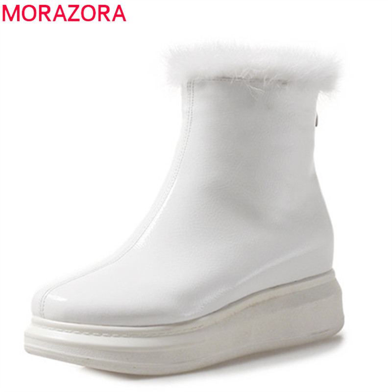 MORAZORA 2019 new arrival ankle boots for women patent leather winter boots round toe punk platform shoes woman warm snow bootsMORAZORA 2019 new arrival ankle boots for women patent leather winter boots round toe punk platform shoes woman warm snow boots