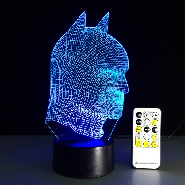 superhero batman colorful led night light remote control 3d illusion