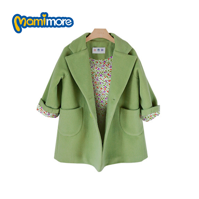 Mamimore Girls Woolen Coat Solid Color Lapel Jacket 2017 Spring Children Clothing Double-breasted Coat Girls Green Coat Hot Sale