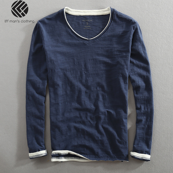 Men Spring Autumn Fashion Brand China Style Bamboo Cotton Fake Two Pieces V-neck Long Sleeve T-shirt Male Casual Thin Tee Tshirt