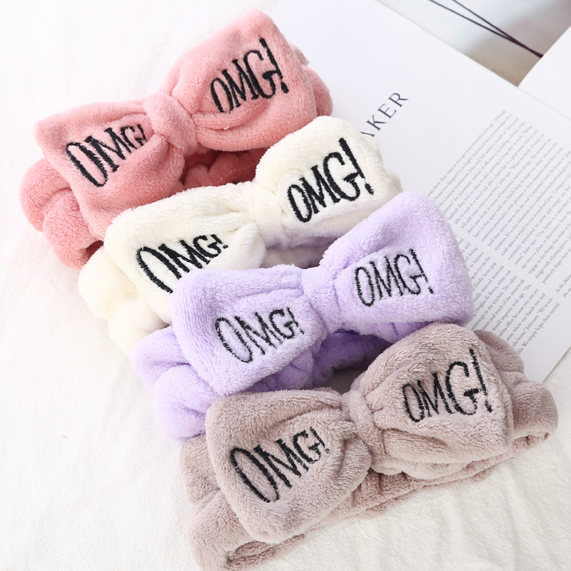 Hair Accessories Letter OMG Headbands For Women Coral Fleece Soft Bow Girls Wash Face Hair Holder Hairbands Hair Bands Headwear