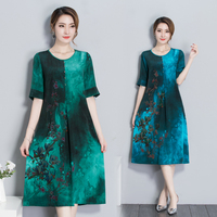 2018 Original Design Chiffon Print Inking Dress Casual Large Size Women Summer Fashion New Green And Blue Loose Clothes