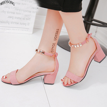 metal String Bead Summer Women Sandals Open Toe shoes Womens Sandles Square heel Shoes Korean Style Gladiator M185
