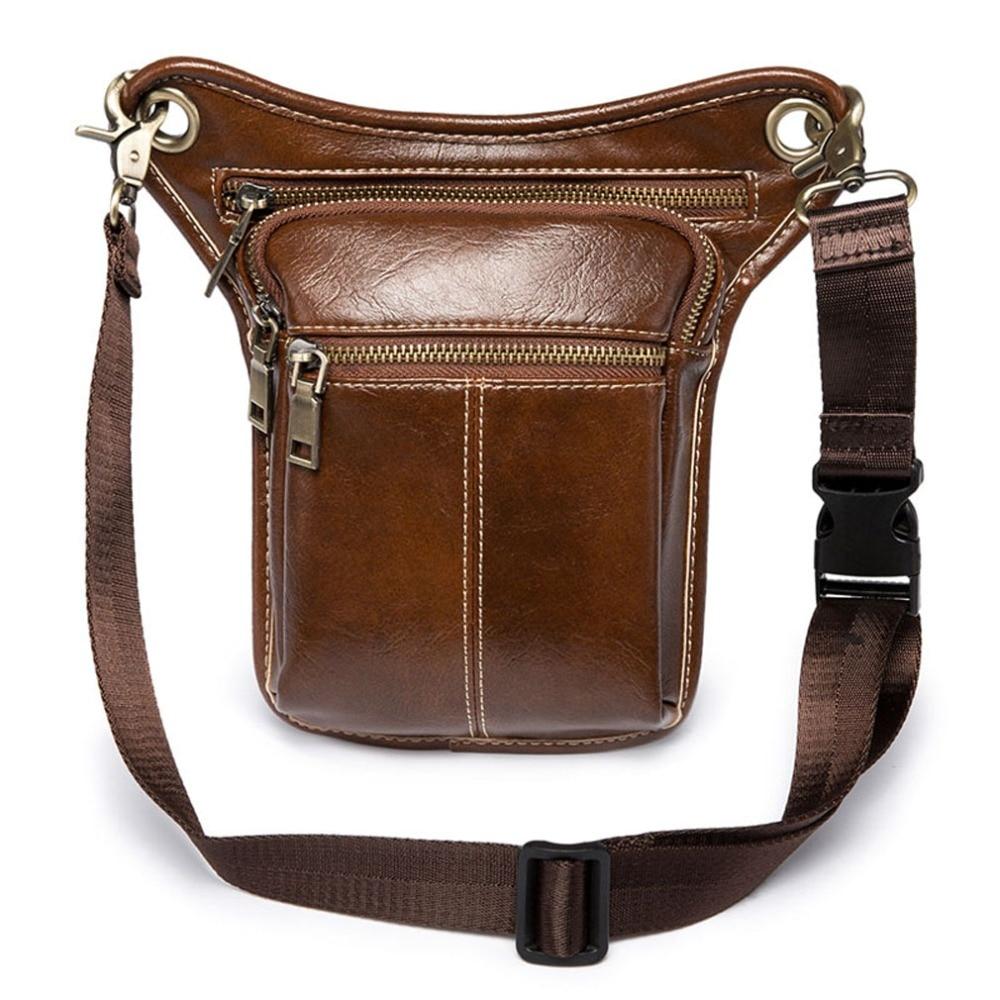 High Quality PU Leather New Men Waist Fanny Leg Bag Drop Belt Hip Bum Motorcycle Ride  Messenger Shoulder Cross Pack