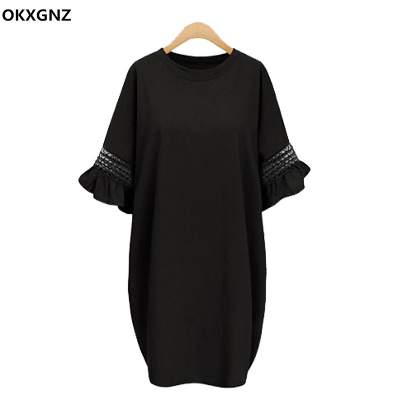 Europe Style Big Sizes 5XL Dresses 2017 New Summer Dress Solid Color Round Neck Loose Speaker