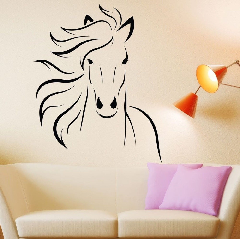Horse Wall Stickers Wall Murals Living Room Decorative Animal Vinyl Removable Wallpaper Art Decas Home Decor-in Wall Stickers from Home u0026 Garden on ...  sc 1 st  AliExpress.com & Horse Wall Stickers Wall Murals Living Room Decorative Animal Vinyl ...