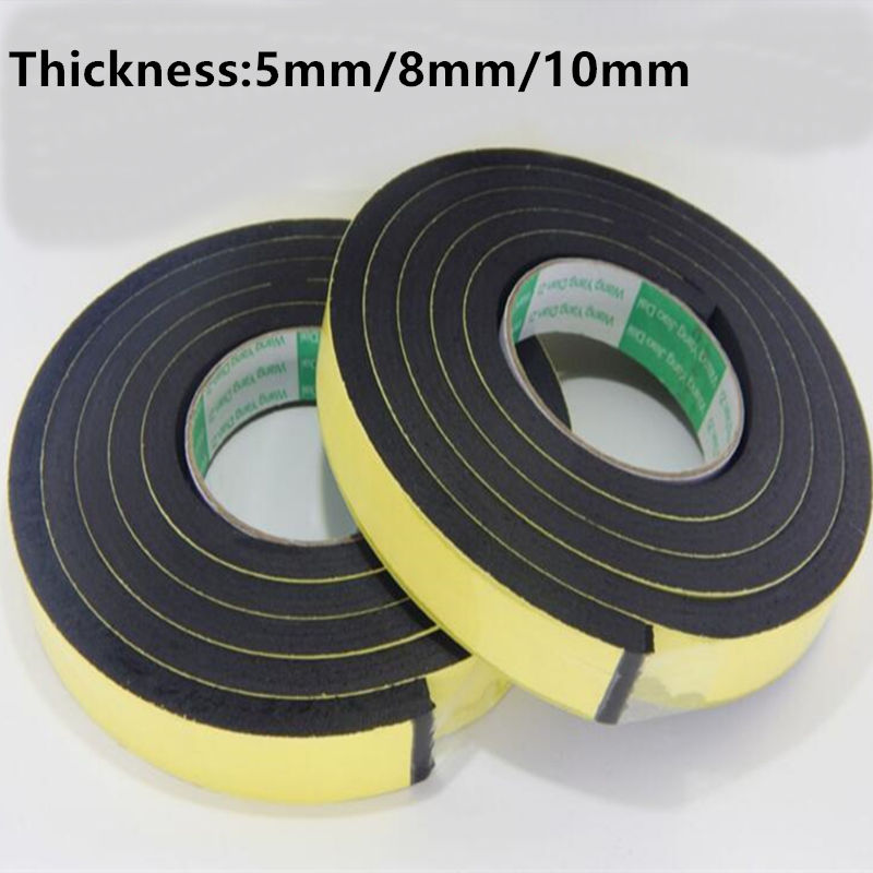 5MM 8MM 10MM thickness Strong adhesion EVA black sponge foam rubber tape anti-collision seal strip