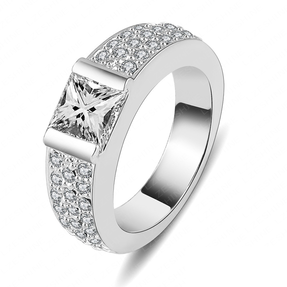 Beagloer Brand Engagement Ring Jewellery Silver Color Square Cubic Zirconia  Ring For Men And Women Free