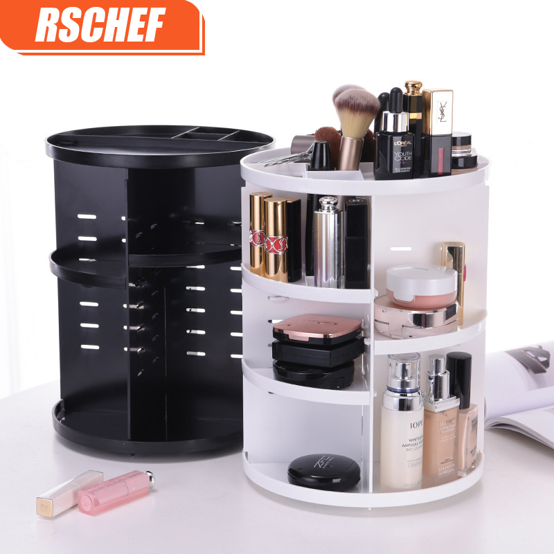 [Video] Fashion 360-graders roterande Makeup Organizer Box Brush Holder Smycken Organizer Case Smycken Makeup Kosmetisk Förvaringslåda