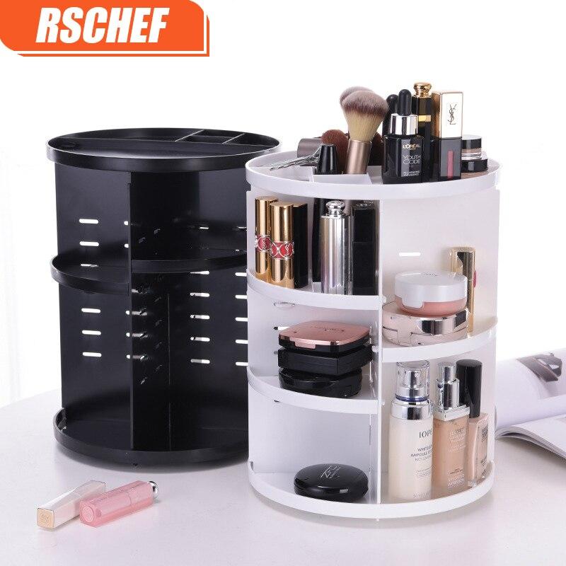 [Video]Fashion 360-degree Rotating Makeup Organizer Box Brush Holder Jewelry Organizer Case Jewelry Makeup Cosmetic Storage Box