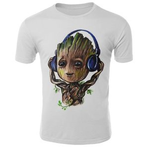 Off White I am Groot T-shirt Men Guardians Of The Galaxy 2 Funny 3D T-shirt Superhero Twig Grout Tops Novelty Unisex T shirt Men(China)