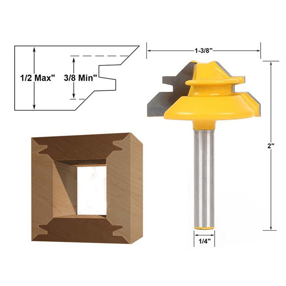 "1Pc Small Lock Miter Router Bit 45°Degree 1//2/"" Stock 1//4/"" Shank"