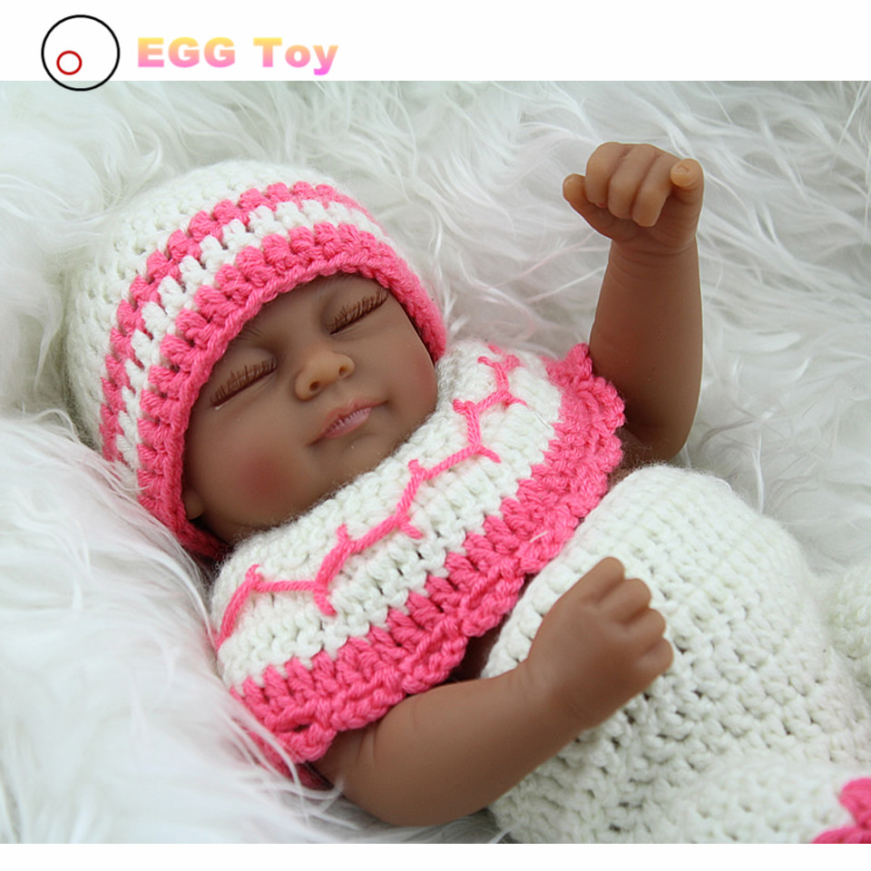 28cm Black Full body Silicone Reborn Baby Dolls Toys Sleeping Lifelike Baby Girls Doll Play House toy Gift Princess Doll Reborn health non toxic bebe reborn realista new born full body silicone reborn baby dolls girls lifelike doll play house toy gift doll