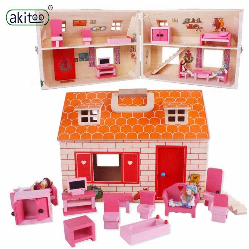 Akitoo chalet en bois chambre de poupée éducation précoce puzzle enfants jouer maison jouet maison petits meubles suite petite maison jouet jimh