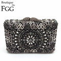 Gift Box Packed Luxury Black Jet Diamond Wedding Clutches Crystal Women Evening Bag Hard Case Metal Bridal Party Clutch Bags
