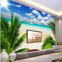 Large Custom Wallpaper HD Beach Coconut Aegean Living Room Bedroom Sofa TV Background Wall