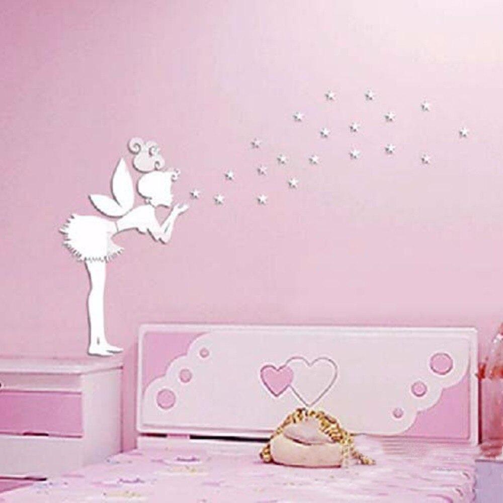 Angel Magic Fairy U0026 Stars 3D Mirror Wall Sticker Kids Bedroom Decoration  Gift Creative Little Girl Wall Sticker For Home House Part 89