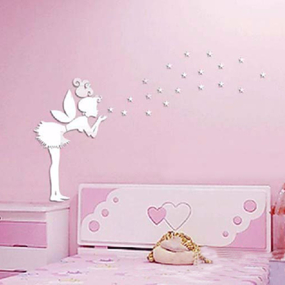 ngel magia de hadas y estrellas d espejo etiqueta de la pared nios regalo de la