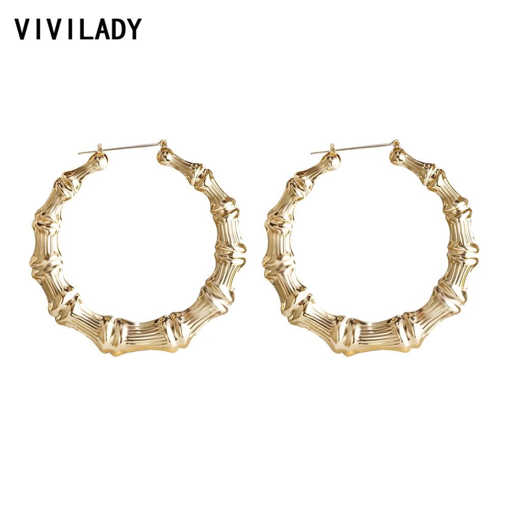 VIVILADY-pendientes de aro de bambú grandes para mujer, joyería de moda para verano, primavera y otoño, accesorios de bisutería para chica, regalos