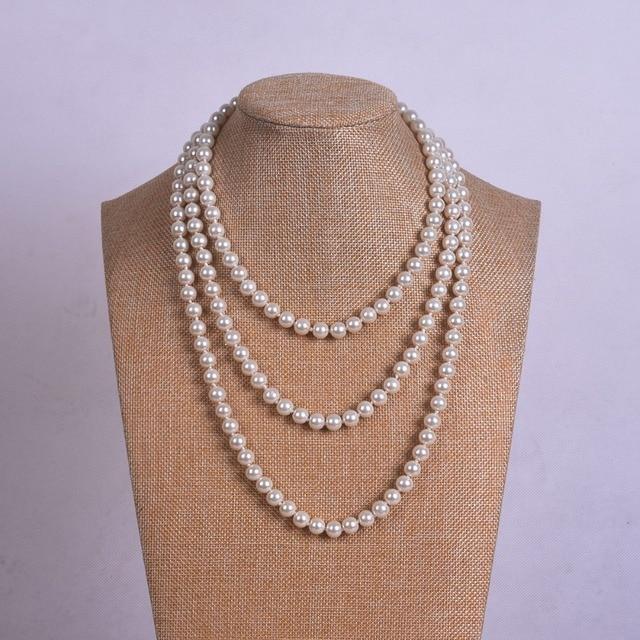 150 cm lunga collana di perle, bianco collana di perle all'ingrosso, lady collan