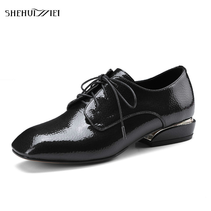 SHEHUIMEI Women Genuine Leather 2018 Spring Flats Casual Shoes Square Toe Handmade Lace-Up Patent Leather Oxford Shoes for Women spring autumn women flats oxford derby brogue pu patent leather square toe lace up vintage sexy casual dress office ladies shoes