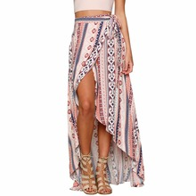 Sexy Summer Bohemian Skirts Chiffon Loose Beach Long Women 2019 Boho Vintage Print Harajuku Lace Up Ankle-Length Casual