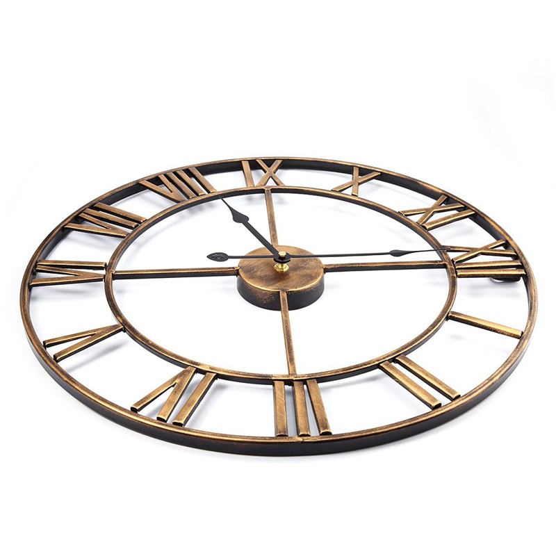 L253-KAYIYO 3D Iron Decorative Wall Clock Retro Big Art Gear Roman Numerals Design The Clock On The Wall (3)