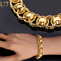 U7 Chain Bracelet With Trendy Gold Plated 21cm Unique Round Chain & Link Bracelets Men Jewelry H489