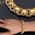 U7 pulseira corrente com trendy banhado a ouro 21 cm rodada única cadeia & link pulseiras homens jóias h489
