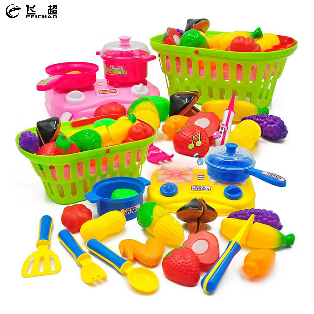 Develop Hands-ability Simulation Toys 19in1 Kictchen Pretend Play Set Food Fruit Vegetables Food for Kids Girls Gift Sound Light