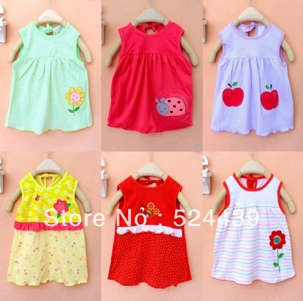 free shipping.2013Hot sale Baby dress  sleeveless dress cotton colorful dress ,children cartoon embroidered dress.