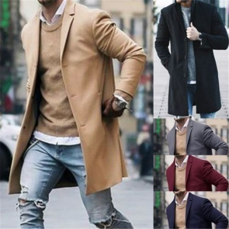 2019 Men Wool Coat Winter Trench Coat Outwear Overcoat Long Sleeve Button Up Jacket  Peacoat Long Overcoat Tops