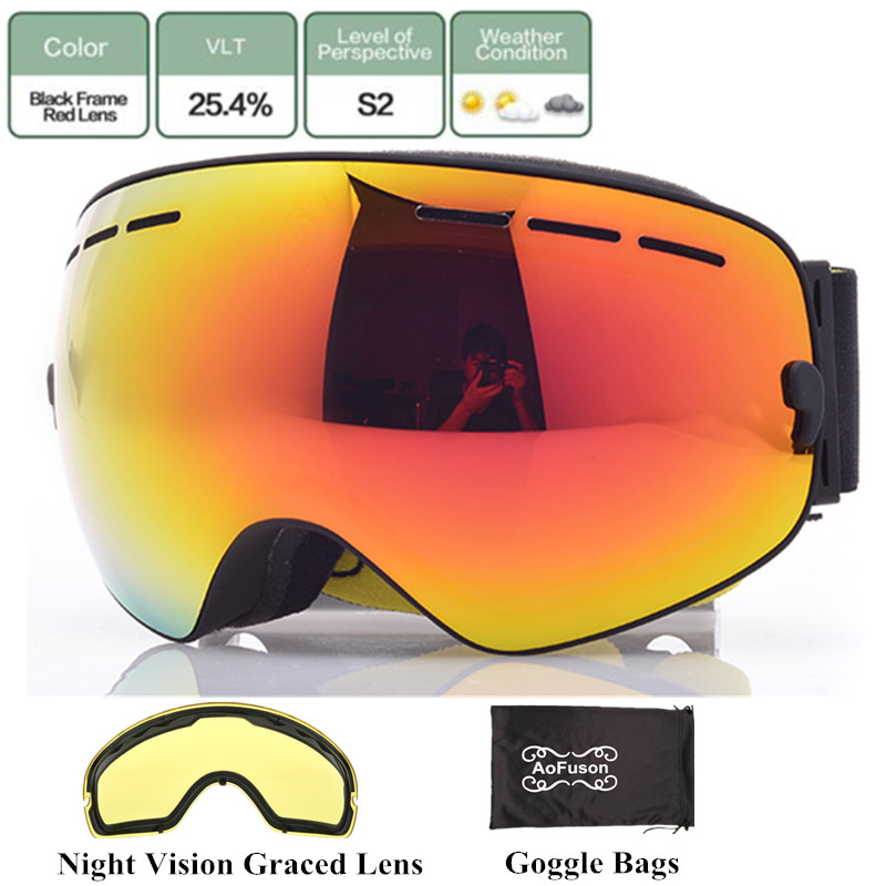 7d91d8939dee Dropwow Brand ski snowboard goggles with Yellow night vision lens double  layers anti-fog big vision spherical mask winter skiing glasses