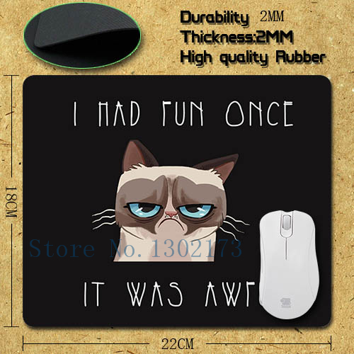 2015 new black custom mousepad grumpy cat i had fun once it was