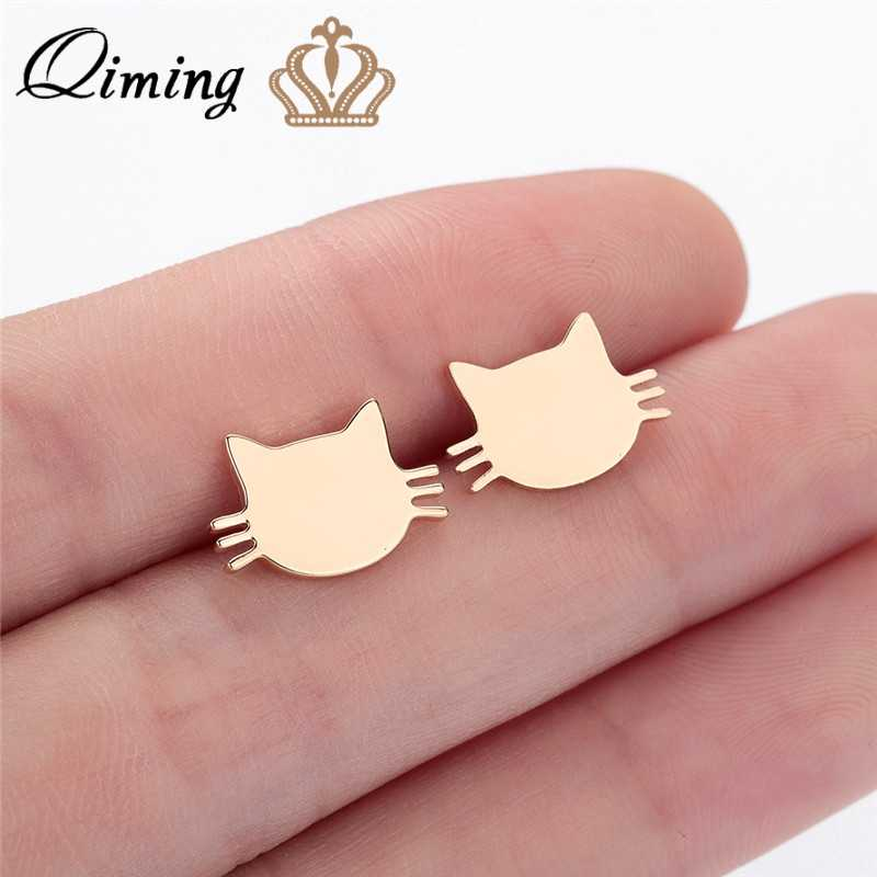 QIMING Cute Kitty Cat Earrings For Women Children Kids Birthday Cheap Stainless Steel Gold Jewelry Kitten Animal Stud Earring