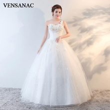 VENSANAC 2018 Lace Flowers Appliques One Shoulder Crystal Ball Gown Wedding Dresses Sequined Backless Bridal Gowns vensanac 2018 crystal sweetheart sequined ball gown wedding dresses short sleeve off the shoulder backless bridal gowns