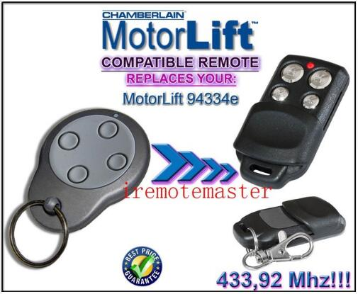 2 pieces/lot ! Motorlift replacement remote 94334e 433mhz Rolling code motorlift replacement remote control 94334e 433mhz rolling code