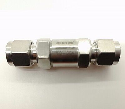 316 Stainless Steel Check Valve Compression Fitting Max Pressure 40 Mpa Fit for 3/8 O/D Tube316 Stainless Steel Check Valve Compression Fitting Max Pressure 40 Mpa Fit for 3/8 O/D Tube