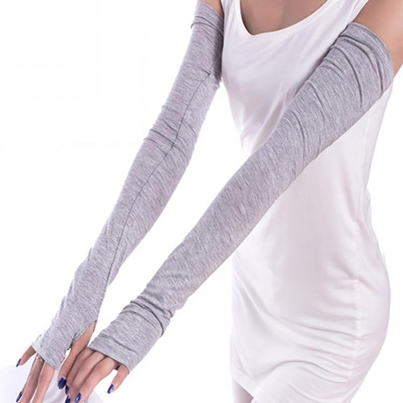 1 Pair Fashion Summer Style Women Arm Warmer Long Fingerless Gloves Gift Anti-UV Simple Design Sunscreen Gloves
