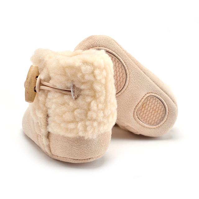Newborn Baby Shoes Autumn Winter Baby Girls Fleece Shoes Anti-skid Kids Cotton Shoes First Walkers 0-1Y