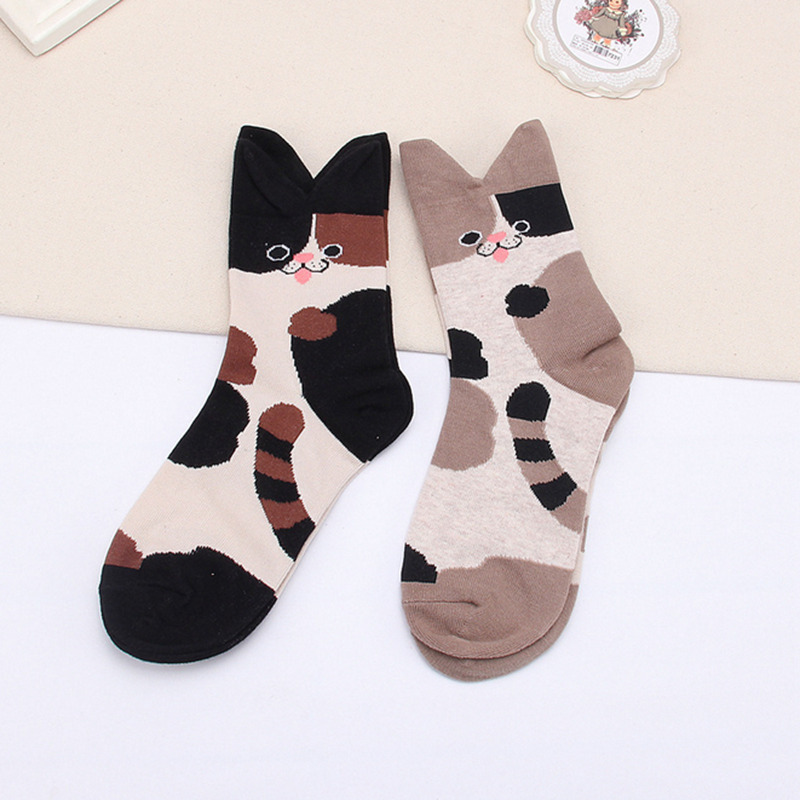 Japanese Cat with Stereo Ears Pattern 3D Womens Socks Casual Character Cute Anmial Short Pot Socks