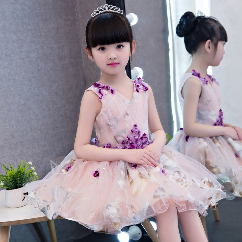 2017 New Korean Sweet Summer Girls Children V-Neck Princess Dress Printing Flowers Birthday Party Dress For Girls Teenagers sweet 3 4 sleeves v neck fish print dress for women