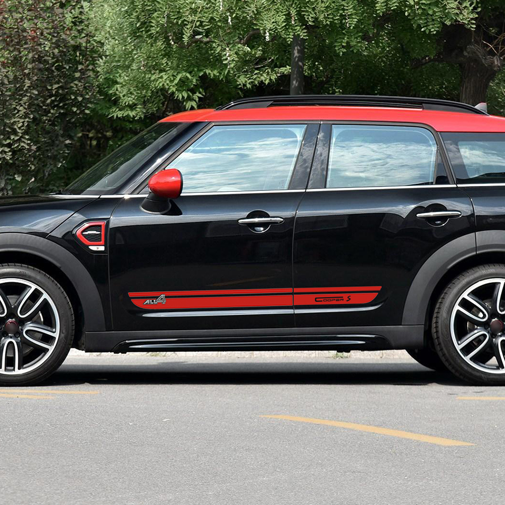 Car Styling Door Side Stripes Skirt Sill Decal Stickers Decor for Mini New Countryman F60 2017-Present Cooper S All4 Graphics