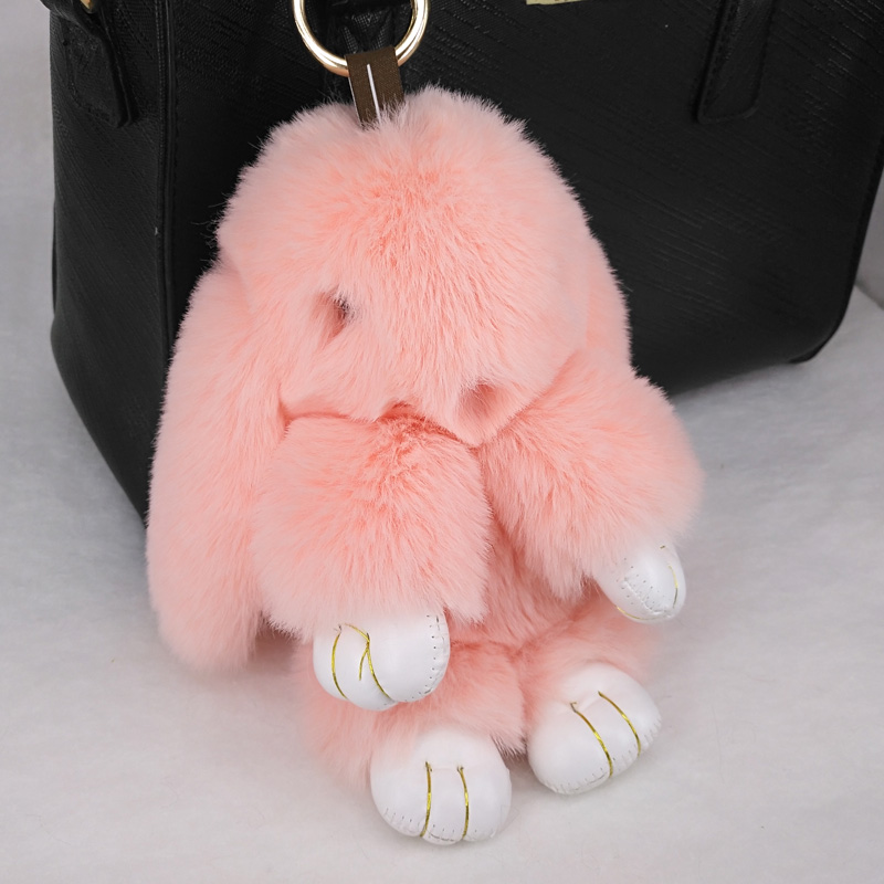 Cute Rabbit Puffy Key Chains Handmade  Bags Pendant Fashion Jewelry Ornament Car Keychain New Year Gifts Kids Toys 5