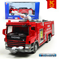 KAIDIWEI 1/50 Scale Crash Water Tender Fire Engine Truck Diecast Metal Flashing Musical Pull Back Car Model Toy For Gift/Kids